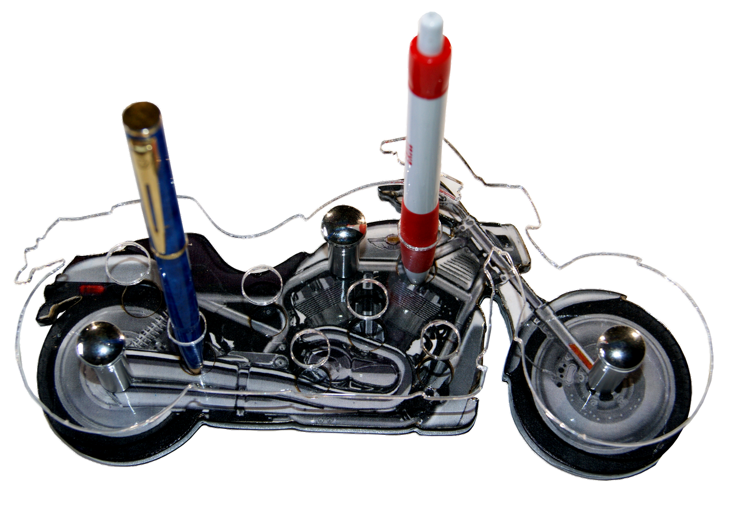 Support stylos crayons moto chopper
